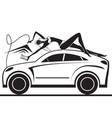 fashion model having fun in car wash vector image