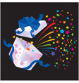 Open Gift Box with rainbow colors confetti booming vector image