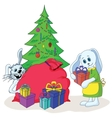 rabbits and christmas tree vector image