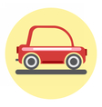 Digital red car icon on yellow circle vector image