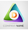 Letter D logo symbol in the colorful triangle vector image