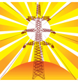 Transmission line with sun rays on background vector image