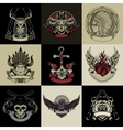 Set of nine art label vector image vector image