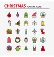 Merry Christmas Colorful Flat Line Icons Set vector image