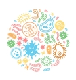 Bacteria and virus on a circular background vector image