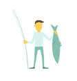businessman fisherman with a fishing rod caught vector image