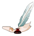 feather pen in the ink and paper vector image