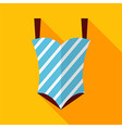 Flat Striped Swimsuit with Long Shadow vector image