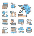 set of flat design outline icons education vector image