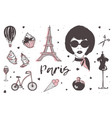 set of paris and france elements - stylish vector image