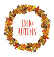 watercolor autumn leaves wreath vector image