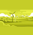 wind turbine tower in field green city background vector image