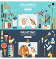Drawing and painting conceptual banners set vector image