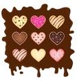 set heart-sweetmeats on chocolate vector image vector image