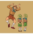 The scoutmaster is afraid of insects vector image