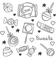 doodle candy various hand draw style vector image
