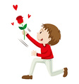 Man holding up the rose vector image
