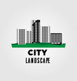 city urban landscape flat long shadow vector image