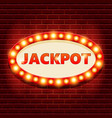 jackpot retro banner template with glowing vector image