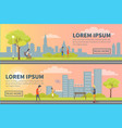 people spending time in urban park poster vector image