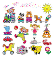 set of simple pictures with toys vector image vector image