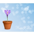 Happy Easter Card with Crocuses vector image vector image
