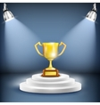 Shiny Podium With Trophy Cup vector image vector image