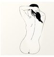 sketch of naked woman Back view vector image