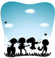 Silhouette people playing music in the park vector image