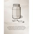 Blank medicine bottle and pills Vintage Label vector image