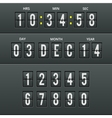 Airport characters and numbers in calendar clock vector image