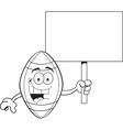 Cartoon football holding a sign vector image