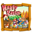 happy easter card template with bunny in the farm vector image