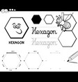 hexagon basic geometric shapes coloring page vector image