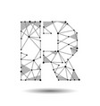 low poly letter r english latin polygonal vector image
