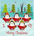 Merry christmas card with choir penguins vector image