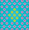 Pink Yellow Flower Blue BG vector image