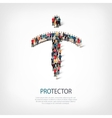 protector people sign 3d vector image