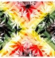 Rastafarian colors pattern and grunge hemp leaves vector image