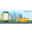 taxi cab mobile phone with map vector image