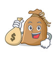 with money bag sack character cartoon style vector image