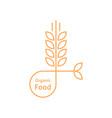 orange organic food logo like wheat ears vector image