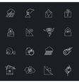 Natural disaster outline icons set vector image