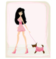 sexy girl and her dog vector image