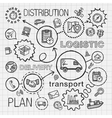Logistic hand draw integrated icons set vector image