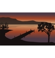 Pier at sunrise scenery vector image
