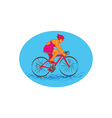 Female Cyclist Riding Bike Drawing vector image