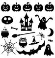 Black Halloween icons set vector image vector image