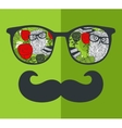 Cool hipster face print of man with sunglasses vector image