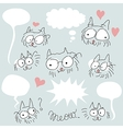 Doodled bespectacled cats set Vector Image